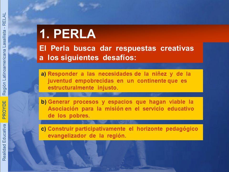 1. PERLA El Perla busca dar respuestas creativas a los siguientes desafíos: a) Responder a las necesidades de la niñez y de la juventud empobrecidas e