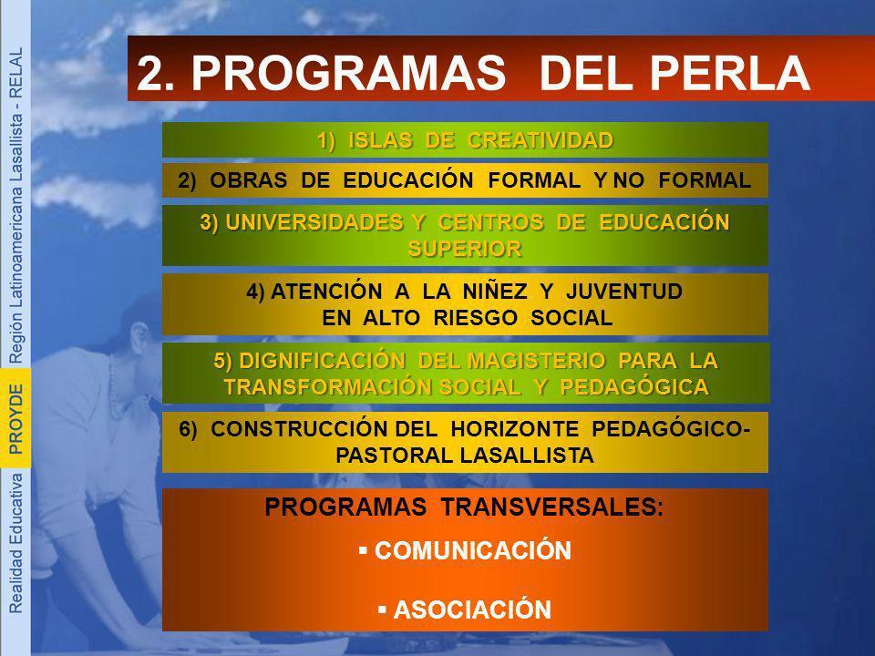 2) OBRAS DE EDUCACIÓN FORMAL Y NO FORMAL 2. PROGRAMAS DEL PERLA 1) ISLAS DE CREATIVIDAD 3) UNIVERSIDADES Y CENTROS DE EDUCACIÓN SUPERIOR 4) ATENCIÓN A