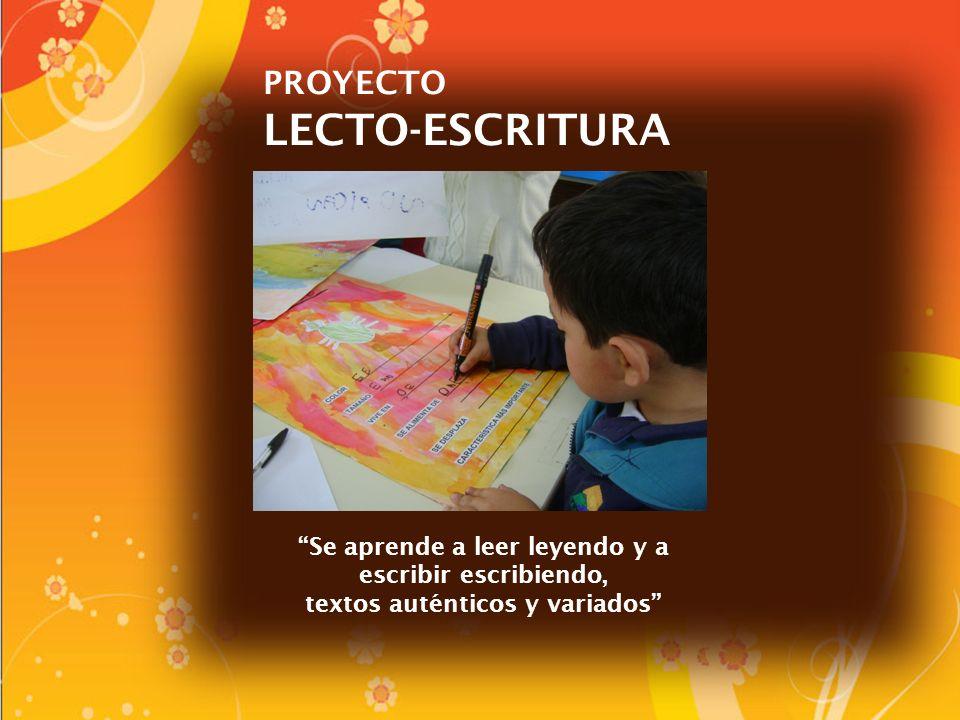 PROYECTO LECTO-ESCRITURA Se aprende a leer leyendo y a escribir escribiendo, textos auténticos y variados