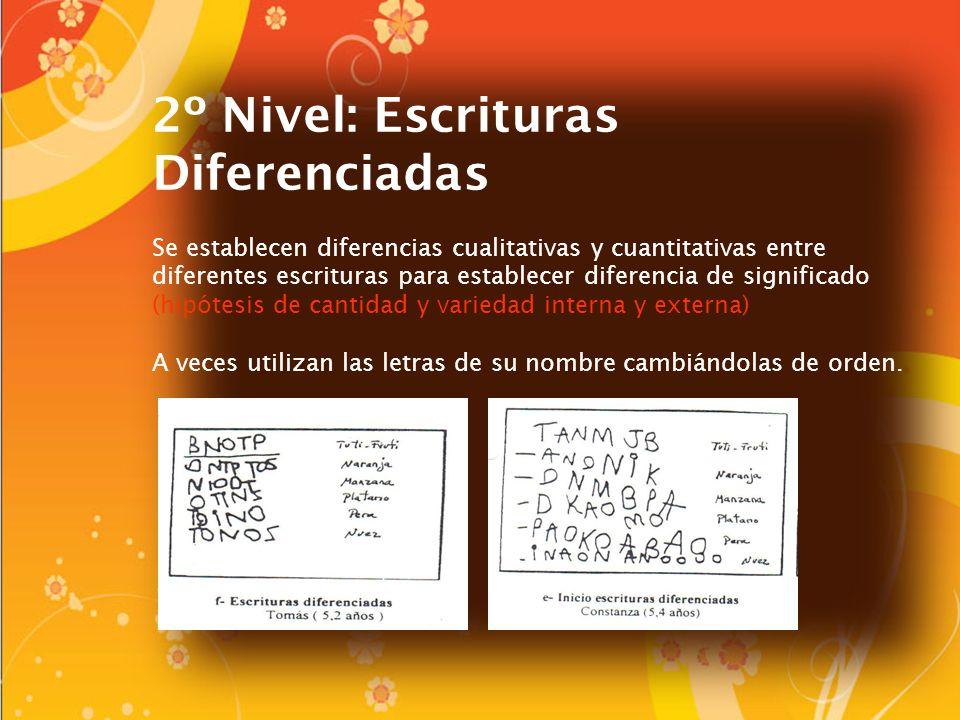 2º Nivel: Escrituras Diferenciadas Se establecen diferencias cualitativas y cuantitativas entre diferentes escrituras para establecer diferencia de si