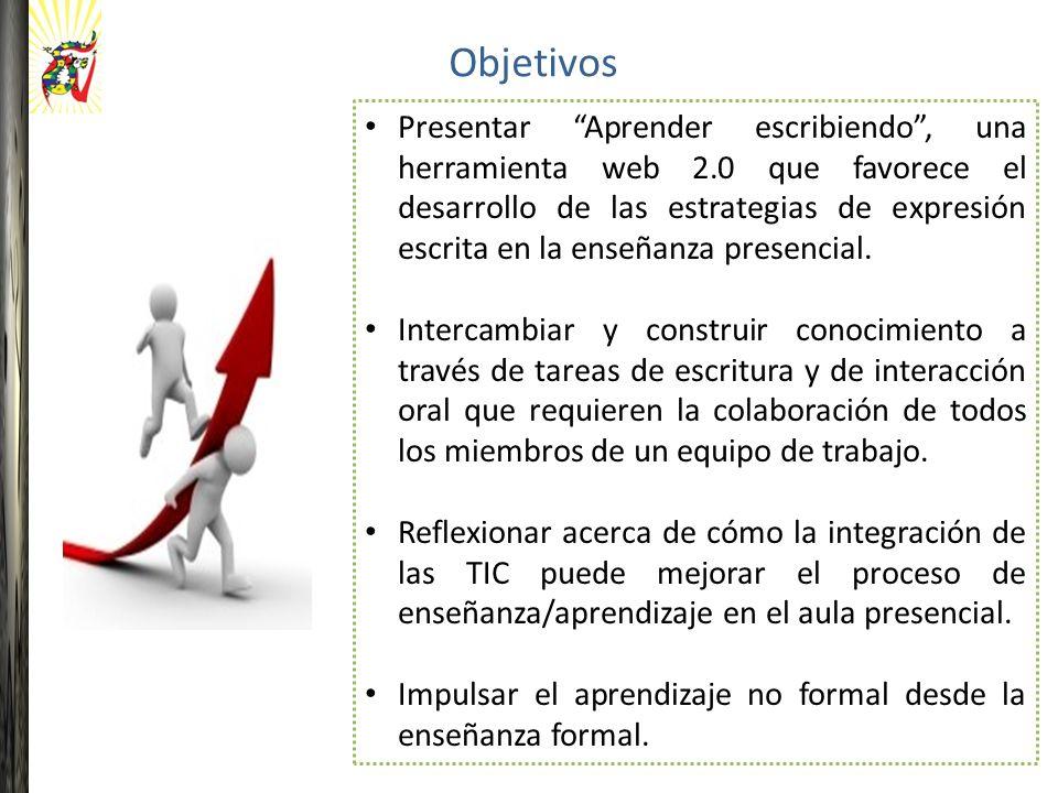 Objetivos Presentar Aprender escribiendo, una herramienta web 2.0 que favorece el desarrollo de las estrategias de expresión escrita en la enseñanza presencial.