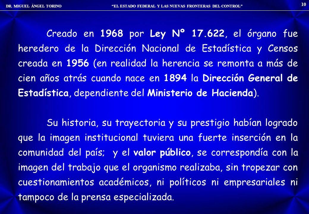 DR. MIGUEL ÁNGEL TORINO EL ESTADO FEDERAL Y LAS NUEVAS FRONTERAS DEL CONTROL 10 Creado en 1968 por Ley Nº 17.622, el órgano fue heredero de la Direcci