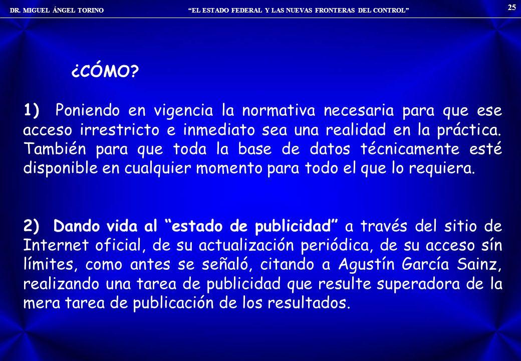 DR. MIGUEL ÁNGEL TORINO EL ESTADO FEDERAL Y LAS NUEVAS FRONTERAS DEL CONTROL 25 ¿CÓMO? 1) Poniendo en vigencia la normativa necesaria para que ese acc