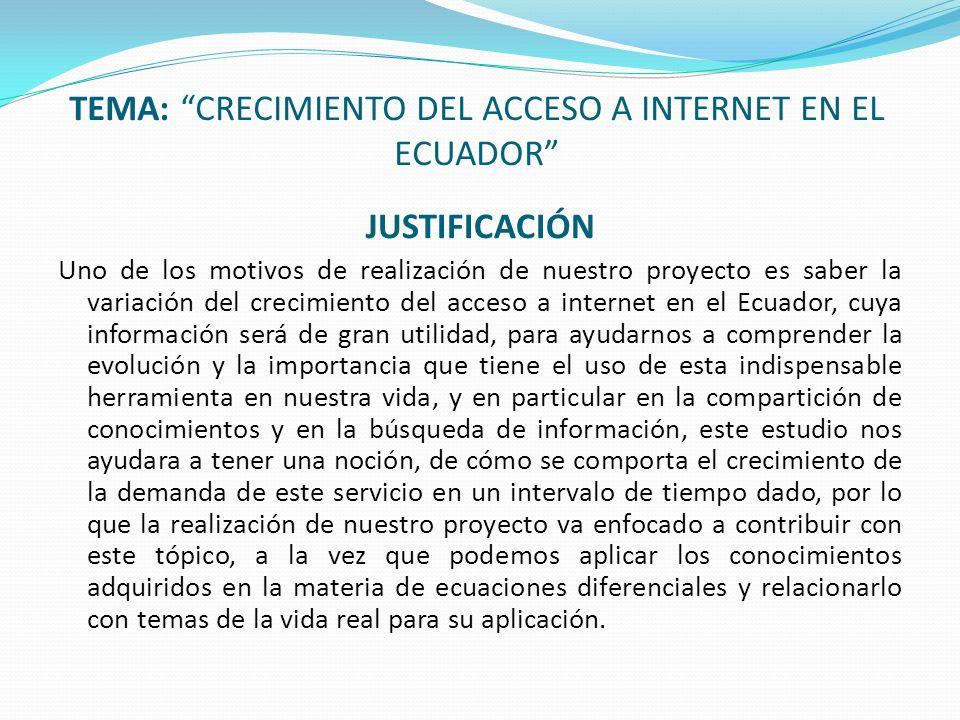 TEMA: CRECIMIENTO DEL ACCESO A INTERNET EN EL ECUADOR JUSTIFICACIÓN Uno de los motivos de realización de nuestro proyecto es saber la variación del cr