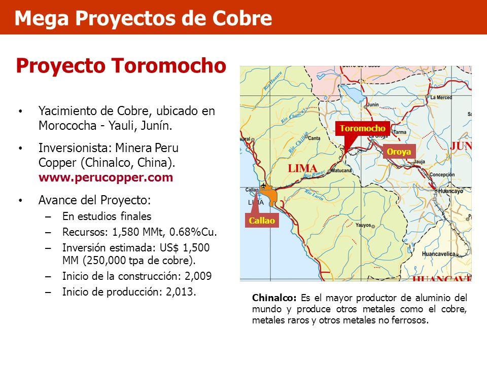 Proyecto Toromocho Yacimiento de Cobre, ubicado en Morococha - Yauli, Junín. Inversionista: Minera Peru Copper (Chinalco, China). www.perucopper.com A