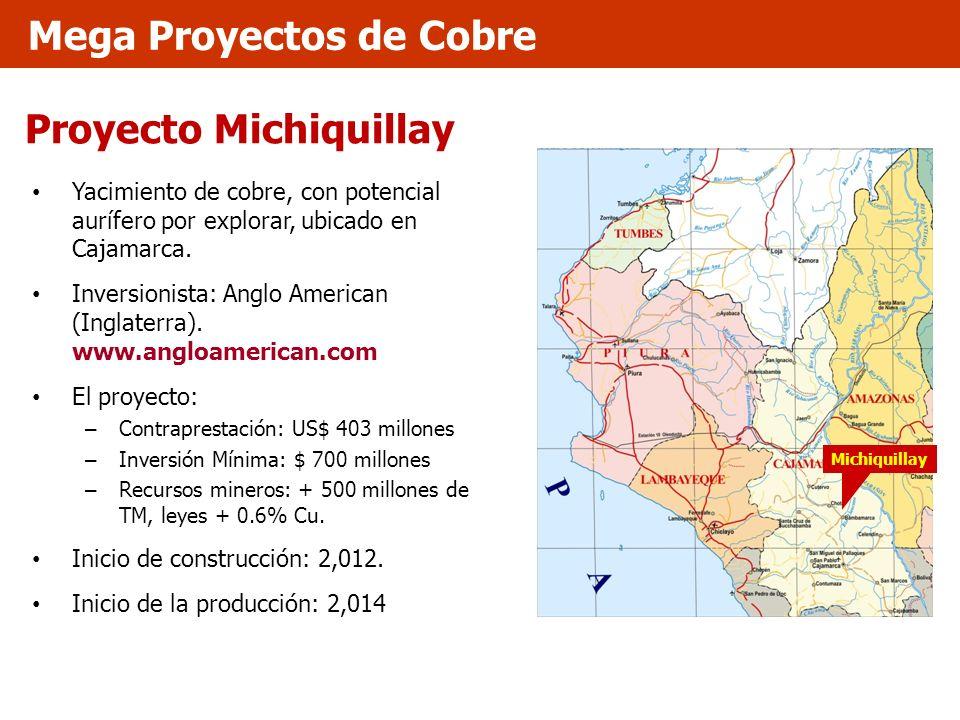 Proyecto Michiquillay Yacimiento de cobre, con potencial aurífero por explorar, ubicado en Cajamarca. Inversionista: Anglo American (Inglaterra). www.
