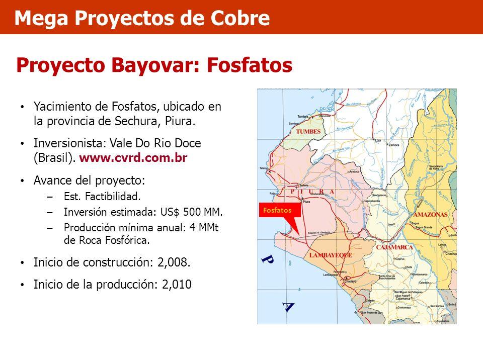Proyecto Bayovar: Fosfatos Yacimiento de Fosfatos, ubicado en la provincia de Sechura, Piura. Inversionista: Vale Do Rio Doce (Brasil). www.cvrd.com.b