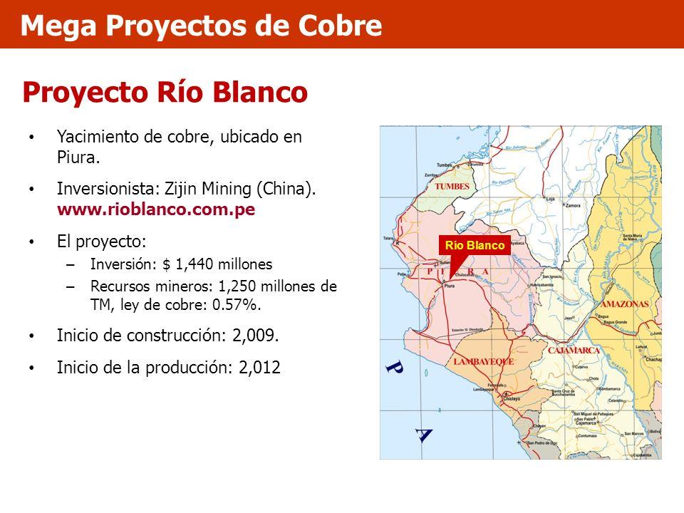 Proyecto Río Blanco Yacimiento de cobre, ubicado en Piura. Inversionista: Zijin Mining (China). www.rioblanco.com.pe El proyecto: – Inversión: $ 1,440