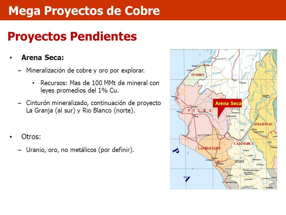 Proyectos Pendientes Arena Seca: – Mineralización de cobre y oro por explorar. Recursos: Mas de 100 MMt de mineral con leyes promedios del 1% Cu. – Ci