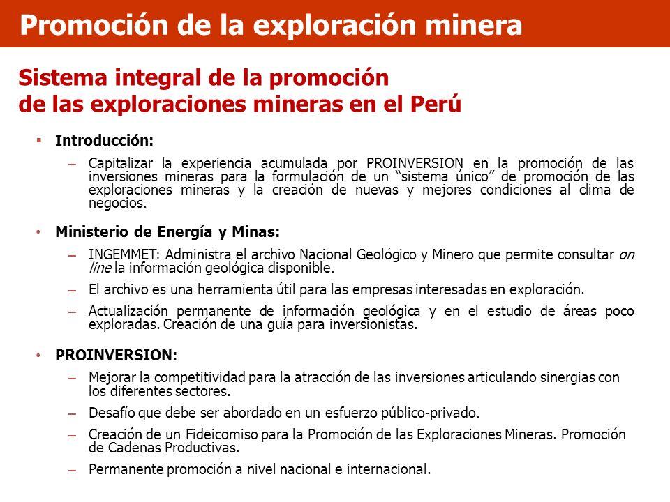 Sistema integral de la promoción de las exploraciones mineras en el Perú Introducción: – Capitalizar la experiencia acumulada por PROINVERSION en la p