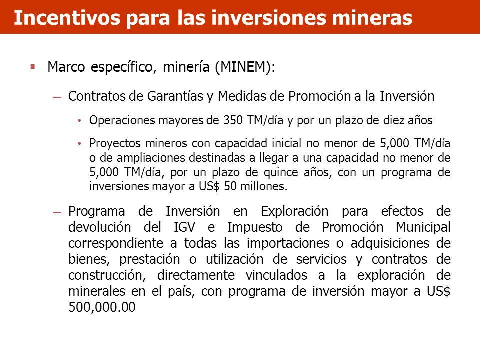 Marco específico, minería (MINEM): – Contratos de Garantías y Medidas de Promoción a la Inversión Operaciones mayores de 350 TM/día y por un plazo de