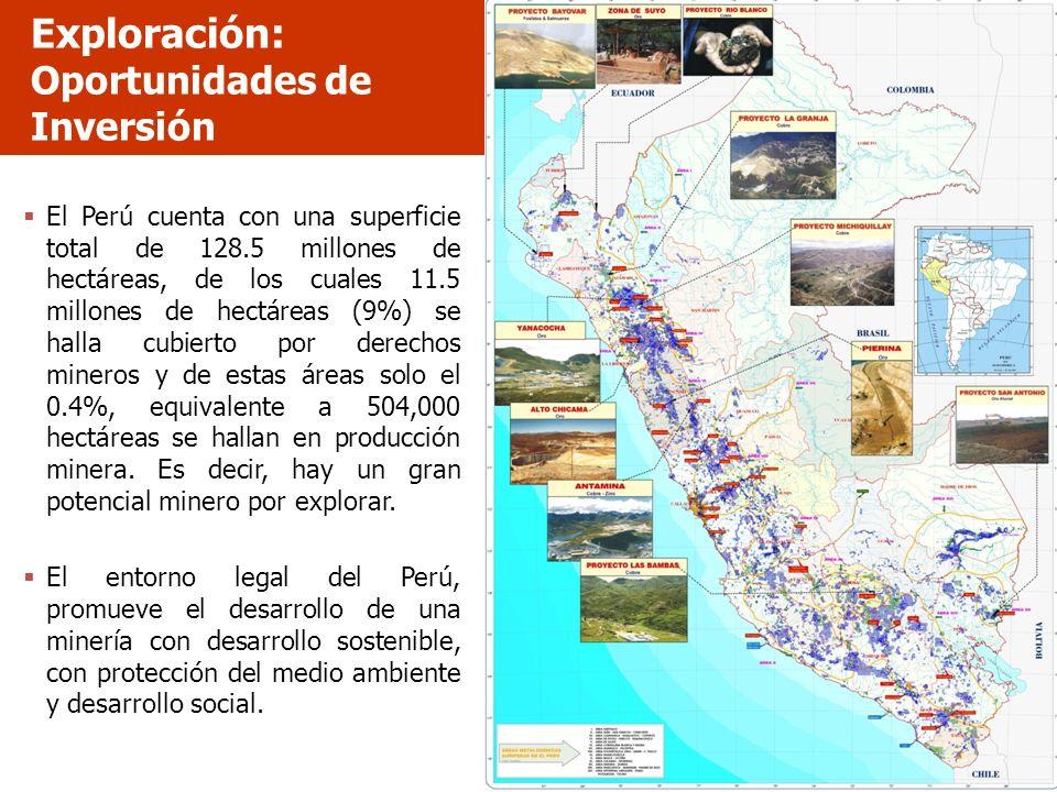 Exploración: Oportunidades de Inversión El Perú cuenta con una superficie total de 128.5 millones de hectáreas, de los cuales 11.5 millones de hectáre
