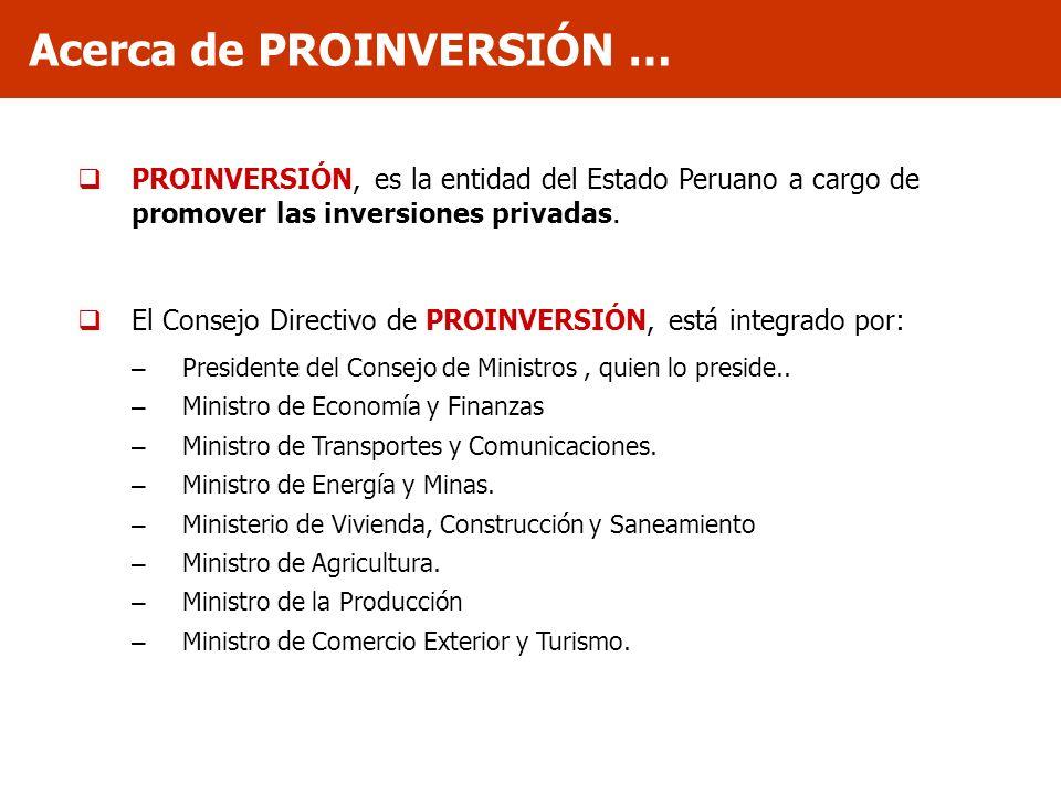 PROINVERSIÓN, es la entidad del Estado Peruano a cargo de promover las inversiones privadas. El Consejo Directivo de PROINVERSIÓN, está integrado por: