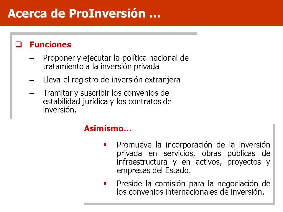 Funciones – Proponer y ejecutar la política nacional de tratamiento a la inversión privada – Lleva el registro de inversión extranjera – Tramitar y su