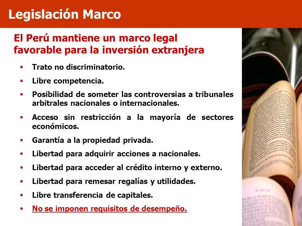 El Perú mantiene un marco legal favorable para la inversión extranjera Trato no discriminatorio. Libre competencia. Posibilidad de someter las controv