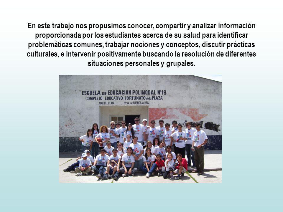 En este trabajo nos propusimos conocer, compartir y analizar información proporcionada por los estudiantes acerca de su salud para identificar problem