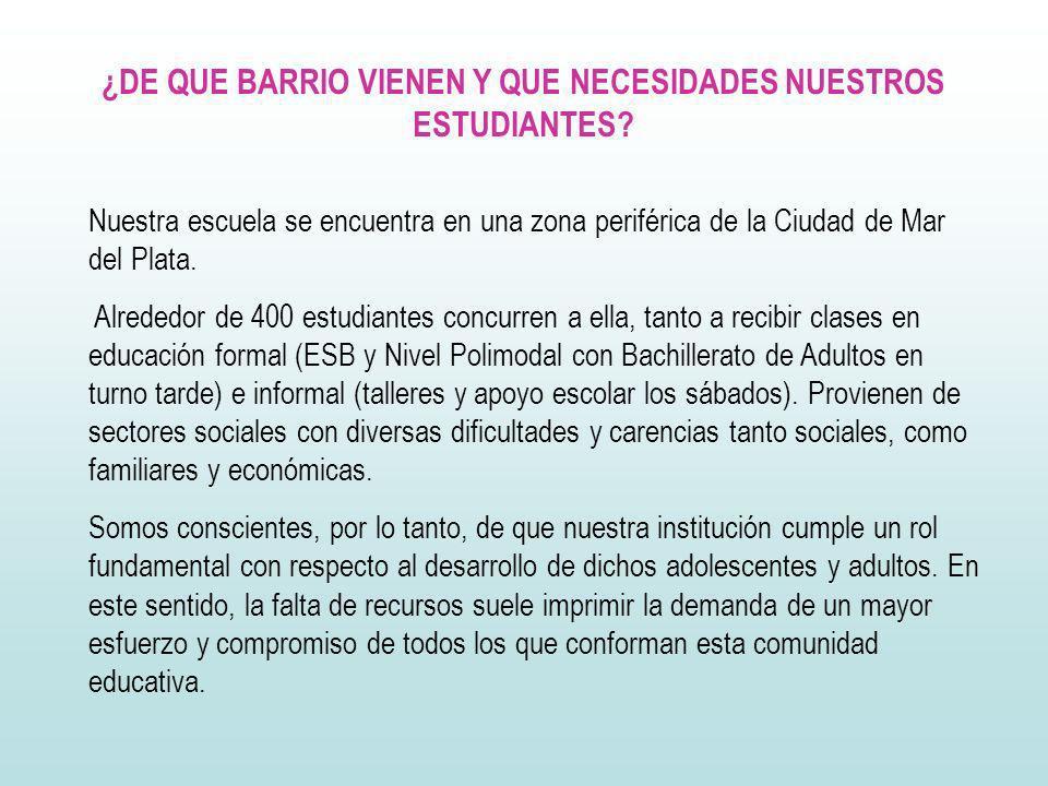 ¿DE QUE BARRIO VIENEN Y QUE NECESIDADES NUESTROS ESTUDIANTES? Nuestra escuela se encuentra en una zona periférica de la Ciudad de Mar del Plata. Alred