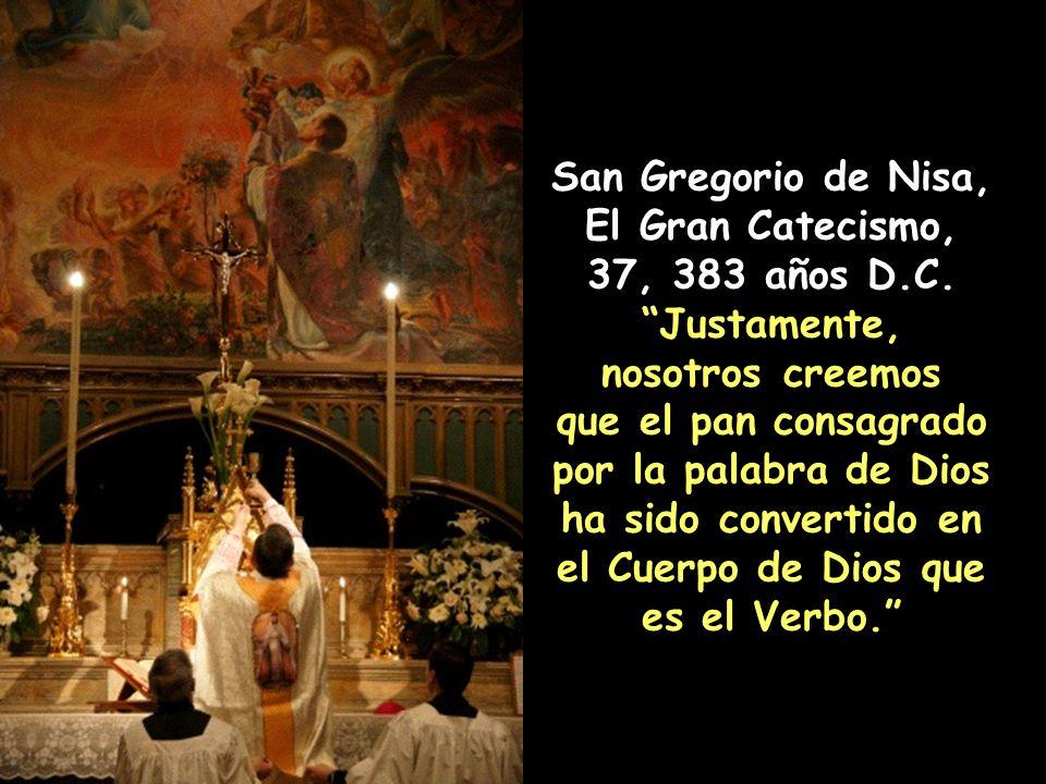 Lecturas de la Catequesis de San Cirilo de Jerusalén, 22 (Mistagógica 4) 350 D.C. Por lo tanto no consideren el pan y el vino como simplemente eso; pu