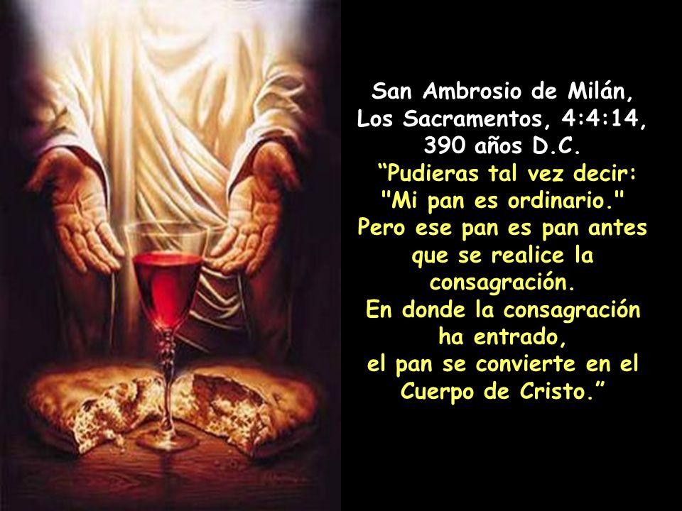 San Gregorio de Nisa, El Gran Catecismo, 37, 383 años D.C. Justamente, nosotros creemos que el pan consagrado por la palabra de Dios ha sido convertid