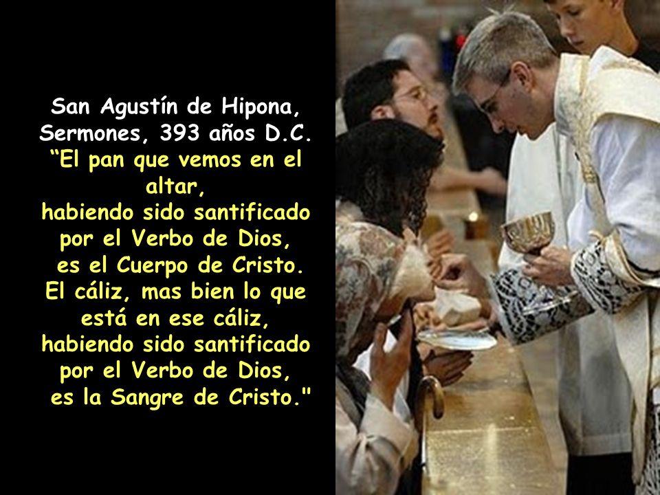 San Juan Crisóstomo, Homilías a los Primeros Corintios, 24:4:7, 392 años D.C. Cuando ves el cuerpo de Cristo en el altar, di a ti mismo, Por este Cuer