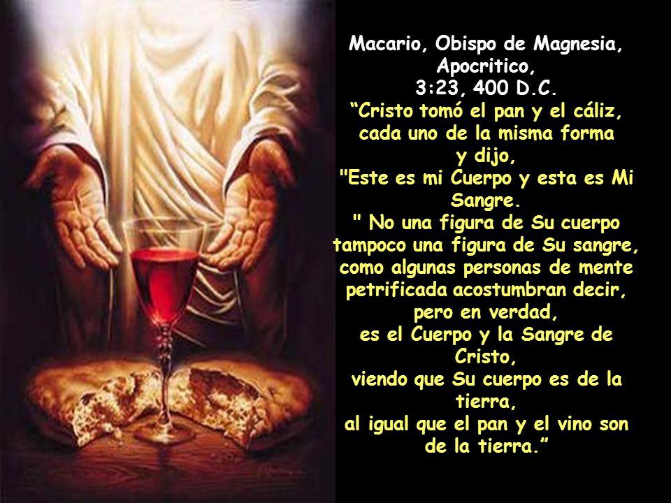 San Cirilo de Alejandría, Comentarios sobre Mateo, 26:27, 428 años D.C. Él afirma demostrativamente:
