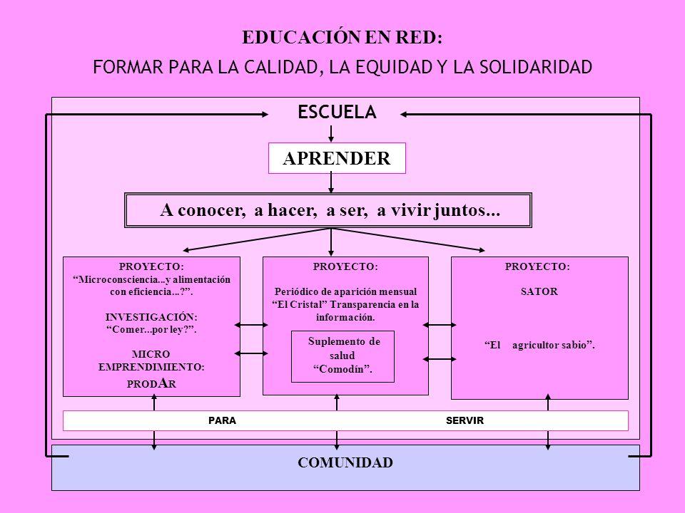 EDUCACIÓN EN RED: FORMAR PARA LA CALIDAD, LA EQUIDAD Y LA SOLIDARIDAD ESCUELA APRENDER A conocer, a hacer, a ser, a vivir juntos...