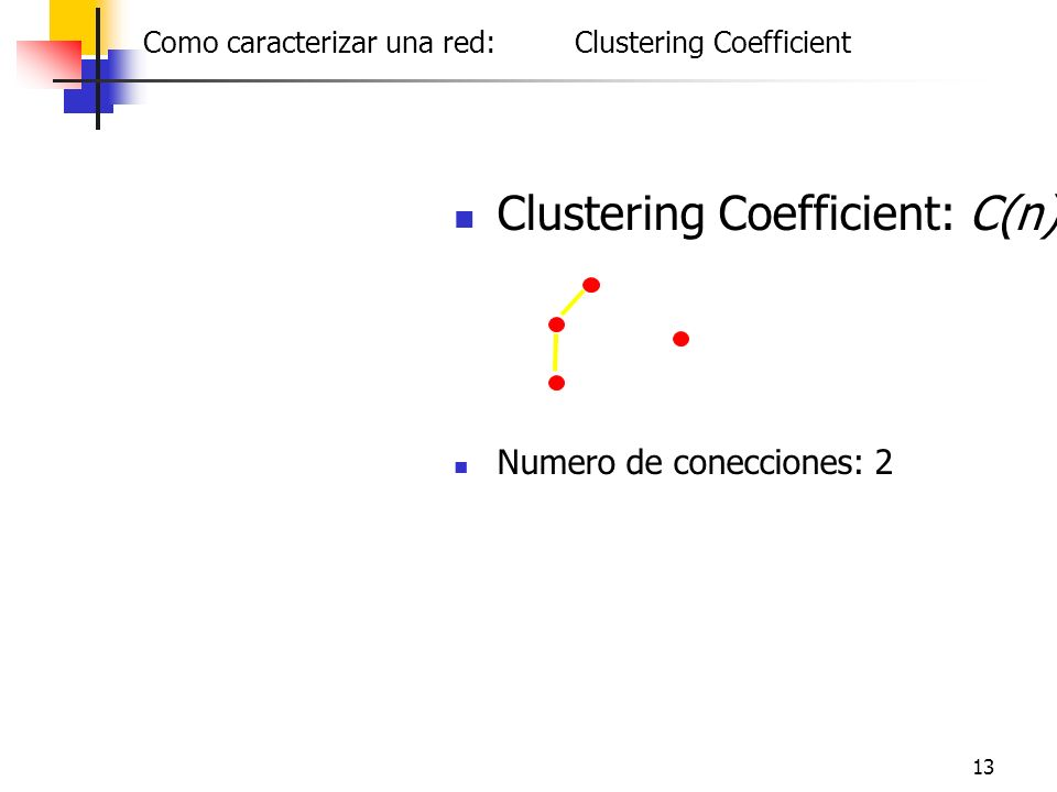 13 Clustering Coefficient: C(n) Numero de conecciones: 2 Friendship Como caracterizar una red: Clustering Coefficient