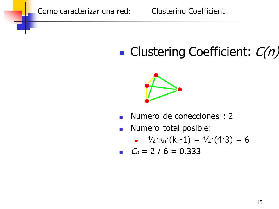 15 Clustering Coefficient: C(n) Numero de conecciones : 2 Numero total posible: ½·k n ·(k n -1) = ½·(4·3) = 6 C n = 2 / 6 = 0.333 Como caracterizar un