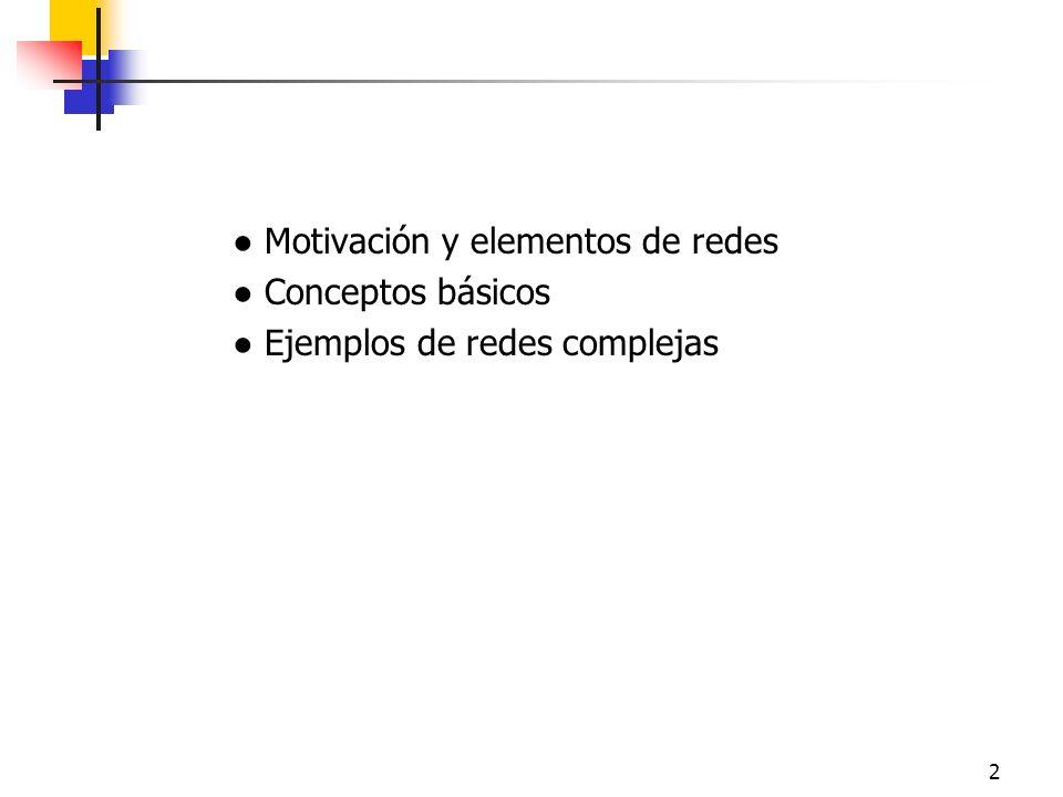 2 Motivación y elementos de redes Conceptos básicos Ejemplos de redes complejas