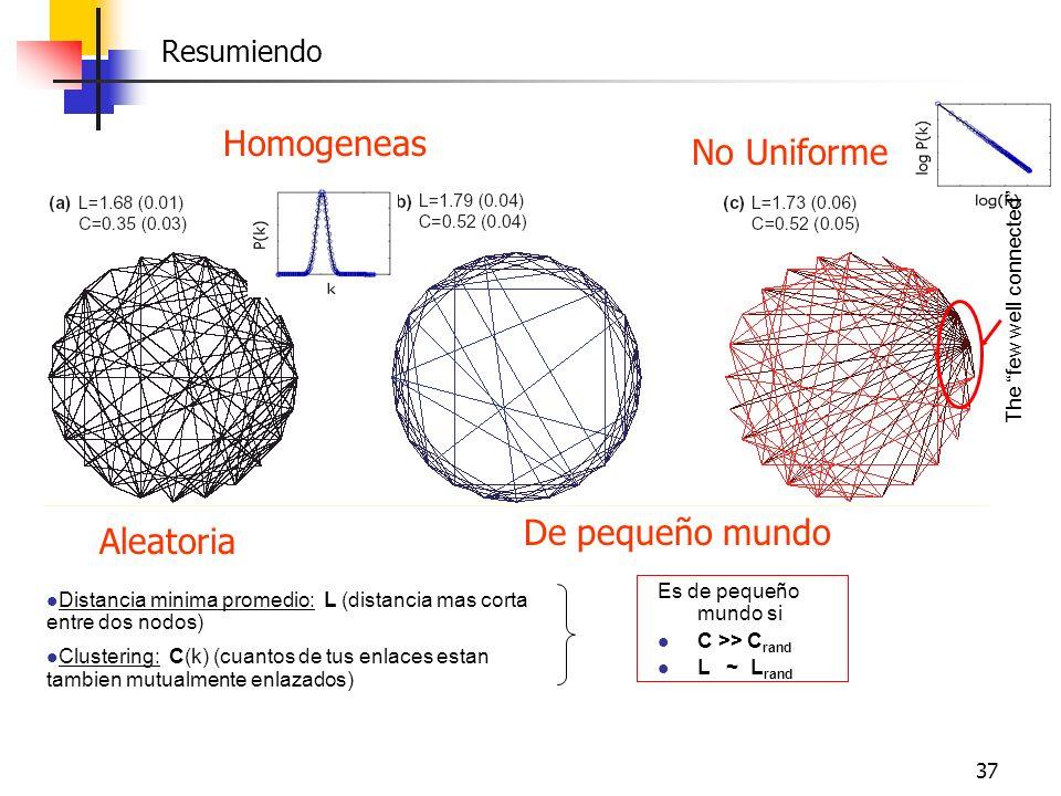 37 Resumiendo Aleatoria De pequeño mundo The few well connected Distancia minima promedio: L (distancia mas corta entre dos nodos) Clustering: C(k) (c