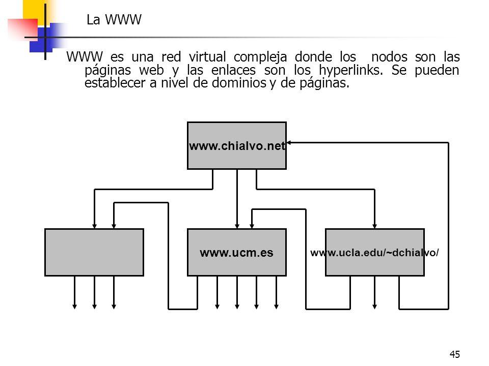 45 WWW es una red virtual compleja donde los nodos son las páginas web y las enlaces son los hyperlinks. Se pueden establecer a nivel de dominios y de