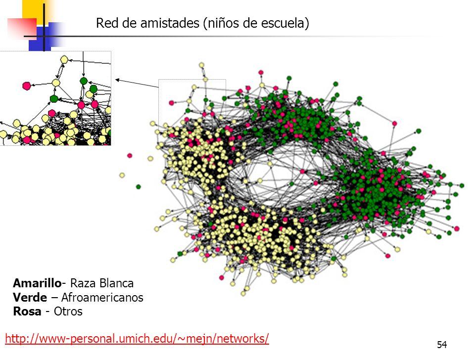 54 http://www-personal.umich.edu/~mejn/networks/ Amarillo- Raza Blanca Verde – Afroamericanos Rosa - Otros Red de amistades (niños de escuela)
