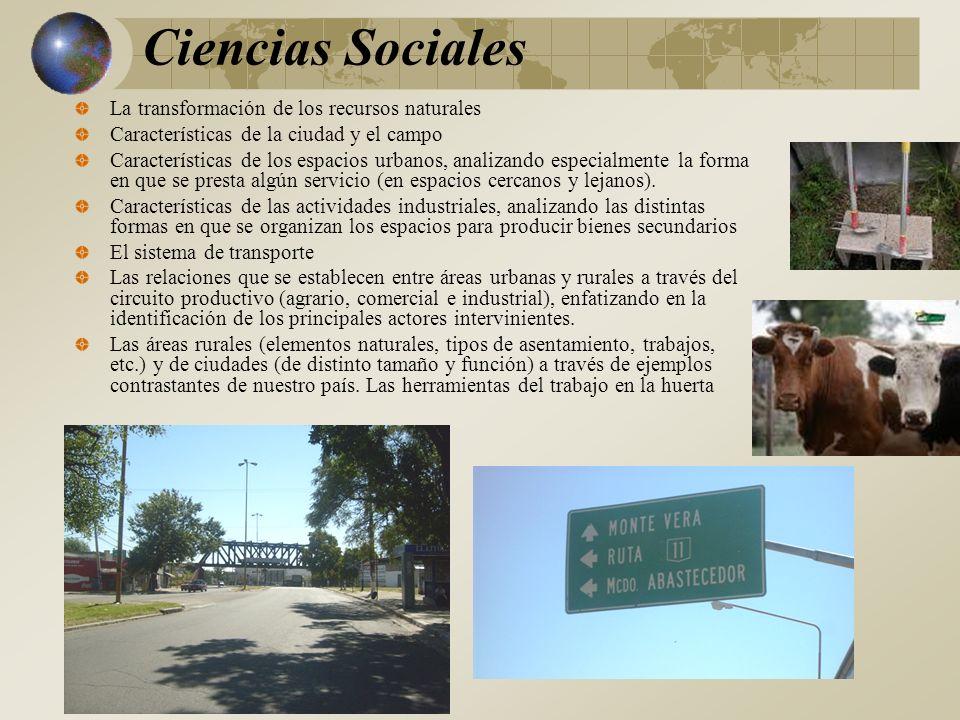 Ciencias Sociales La transformación de los recursos naturales Características de la ciudad y el campo Características de los espacios urbanos, analizando especialmente la forma en que se presta algún servicio (en espacios cercanos y lejanos).