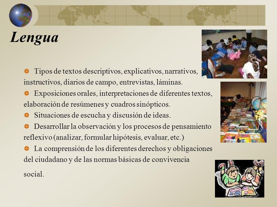 Lengua Tipos de textos descriptivos, explicativos, narrativos, instructivos, diarios de campo, entrevistas, láminas.