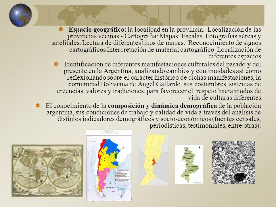 Espacio geográfico: la localidad en la provincia.