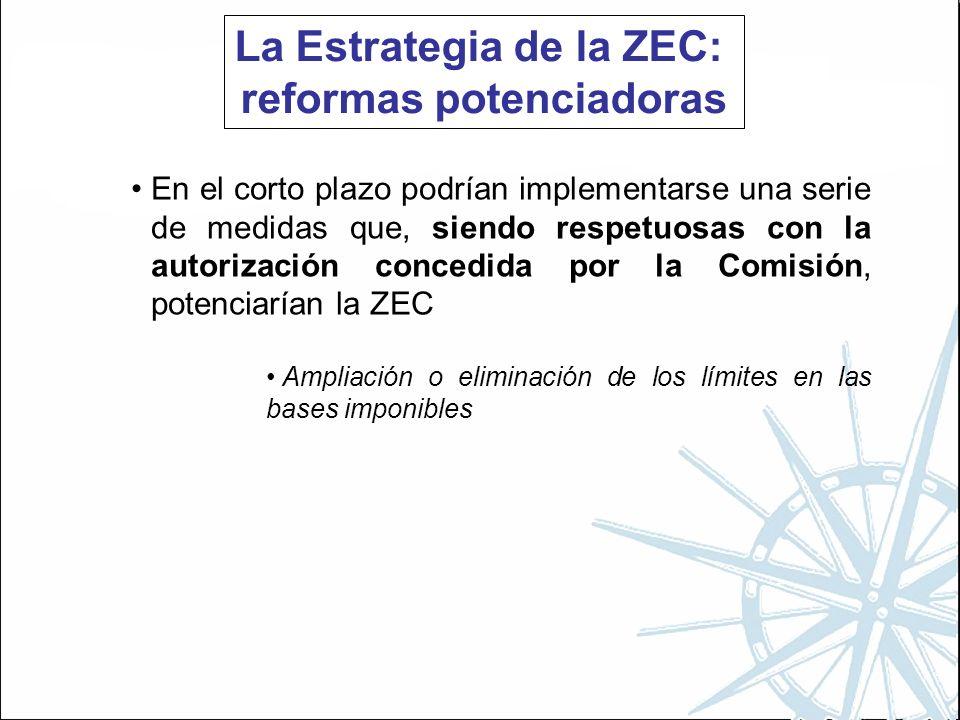 La Estrategia de la ZEC: reformas potenciadoras En el corto plazo podrían implementarse una serie de medidas que, siendo respetuosas con la autorización concedida por la Comisión, potenciarían la ZEC Ampliación o eliminación de los límites en las bases imponibles