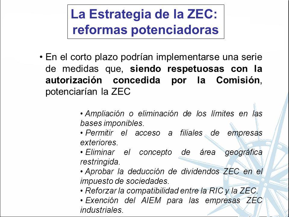 La Estrategia de la ZEC: reformas potenciadoras En el corto plazo podrían implementarse una serie de medidas que, siendo respetuosas con la autorización concedida por la Comisión, potenciarían la ZEC Ampliación o eliminación de los límites en las bases imponibles.