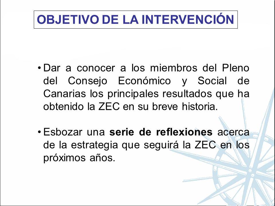 OBJETIVO DE LA INTERVENCIÓN Dar a conocer a los miembros del Pleno del Consejo Económico y Social de Canarias los principales resultados que ha obtenido la ZEC en su breve historia.