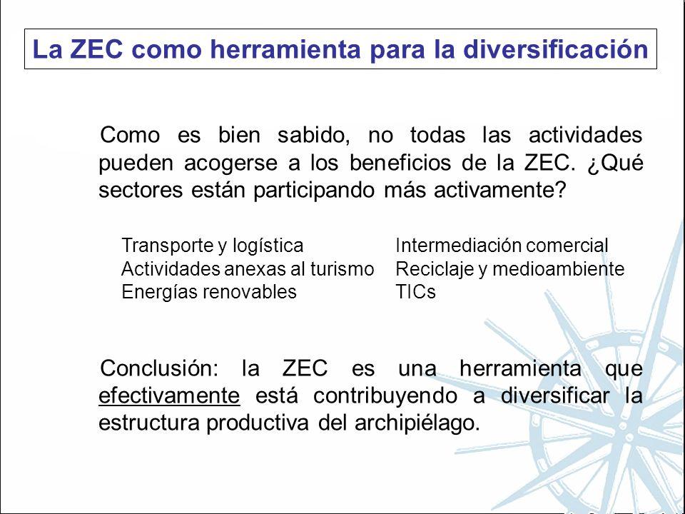 La ZEC como herramienta para la diversificación Como es bien sabido, no todas las actividades pueden acogerse a los beneficios de la ZEC.