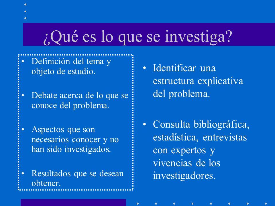 ¿Qué es lo que se investiga.Definición del tema y objeto de estudio.