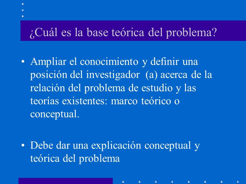 ¿Cuál es la base teórica del problema.