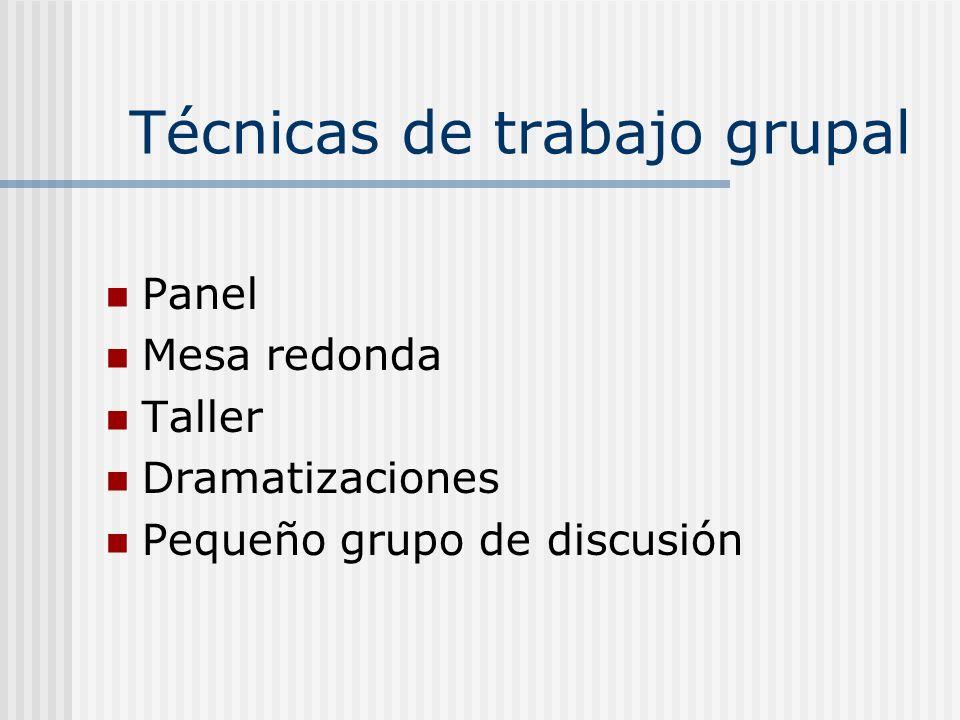 Técnicas de trabajo grupal Panel Mesa redonda Taller Dramatizaciones Pequeño grupo de discusión