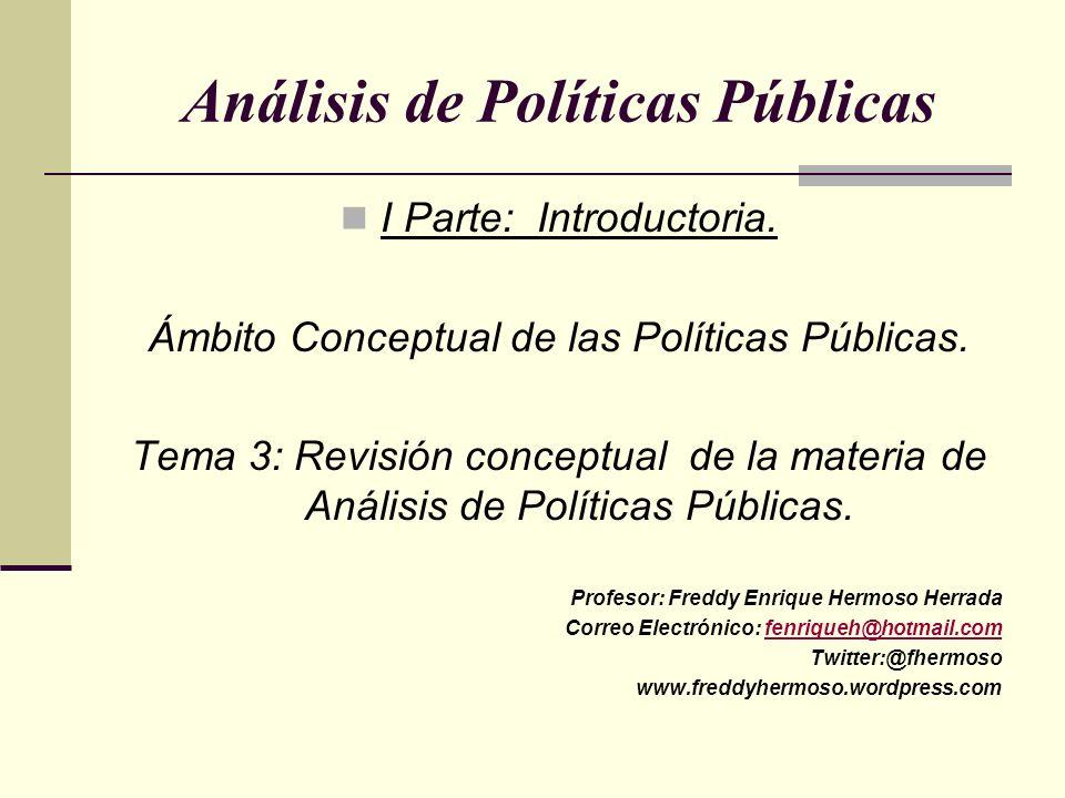 Análisis de Políticas Públicas I Parte: Introductoria. Ámbito Conceptual de las Políticas Públicas. Tema 3: Revisión conceptual de la materia de Análi