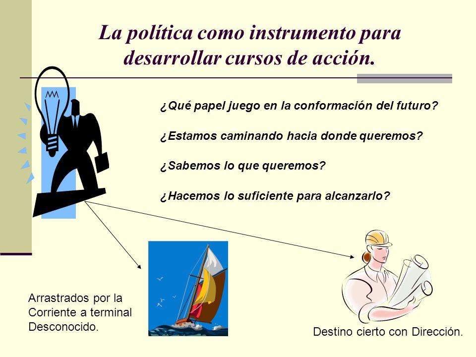 La política como instrumento para desarrollar cursos de acción. ¿Qué papel juego en la conformación del futuro? ¿Estamos caminando hacia donde queremo