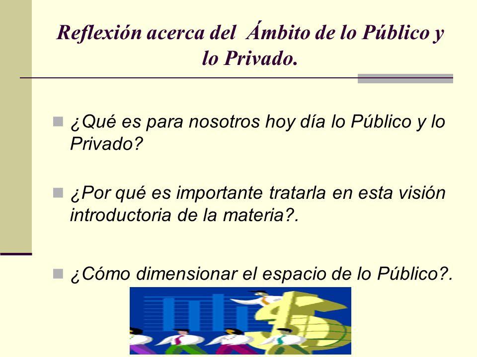 Reflexión acerca del Ámbito de lo Público y lo Privado. ¿Qué es para nosotros hoy día lo Público y lo Privado? ¿Por qué es importante tratarla en esta