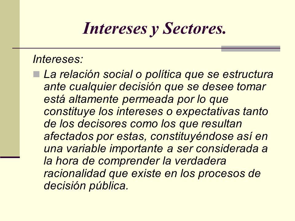 Intereses: La relación social o política que se estructura ante cualquier decisión que se desee tomar está altamente permeada por lo que constituye lo