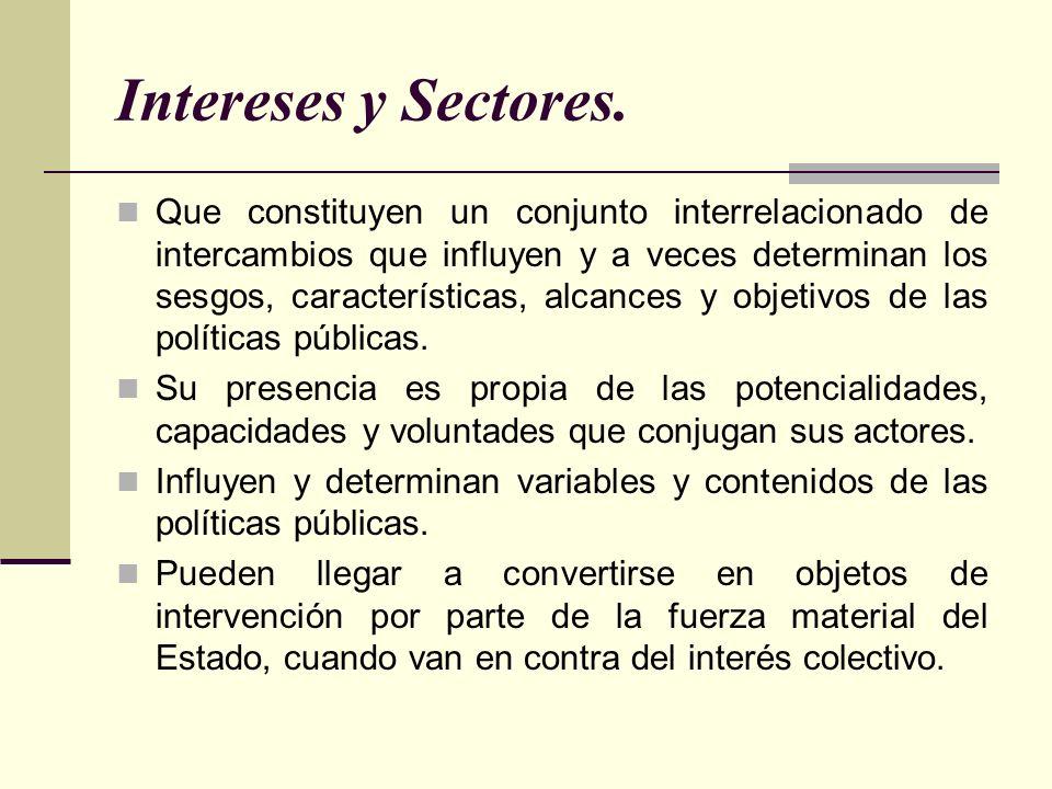 Intereses y Sectores. Que constituyen un conjunto interrelacionado de intercambios que influyen y a veces determinan los sesgos, características, alca
