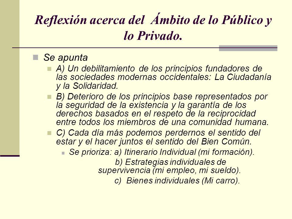 Reflexión acerca del Ámbito de lo Público y lo Privado. Se apunta A) Un debilitamiento de los principios fundadores de las sociedades modernas occiden