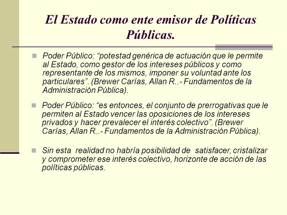 El Estado como ente emisor de Políticas Públicas. Poder Público: potestad genérica de actuación que le permite al Estado, como gestor de los intereses