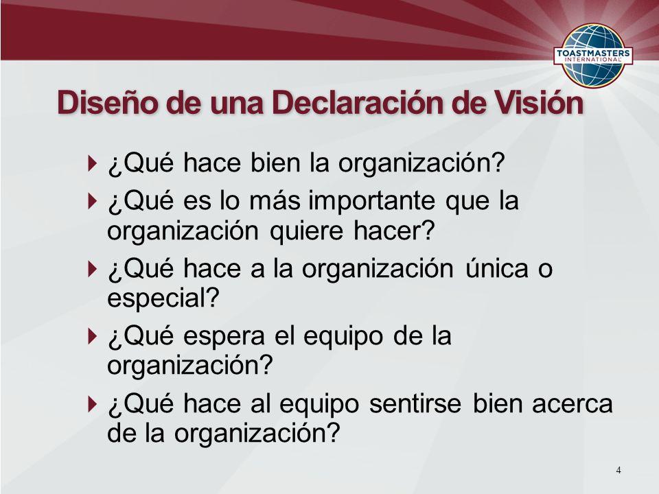 Disposición para alcanzar la visión Controlando el futuro declarado Fomenta cooperación y colaboración 5 Diseñando una Declaración de Visión Involucre Miembros del Equipo